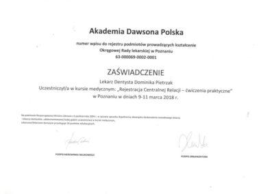 Certyfikat lek stom Pietrzak
